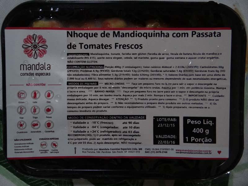 Loja de produtos sem glúten congelados - Mandala - nhoque mandioquinha