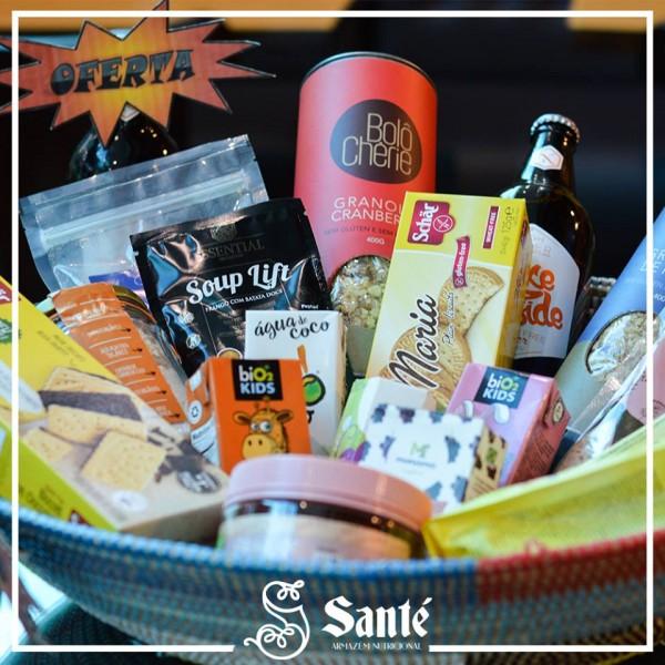 Santé Armazém Funcional Sucos, granola, cerveja sem glúten, bolachas, misturas e outros itens sem glúten