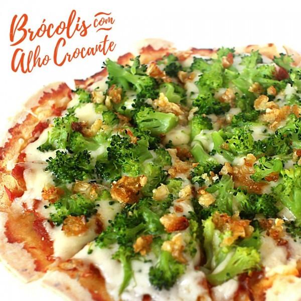 Pinoli Pizza de brócolis com alho sem glúten