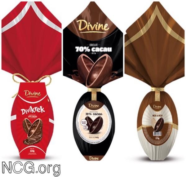 NCG - Divine: Ovo de Páscoa chocolate sem glúten. Não contém glúten