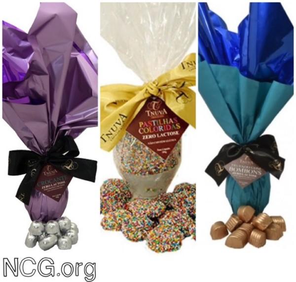 NCG - Tnuva: Ovo de Páscoa sem glúten/ Leite com Chocolates bombom 180g. Não contém glúten