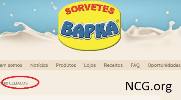 Sorvetes BAPKA disponibiliza informações dos produtos para CELÍACOS