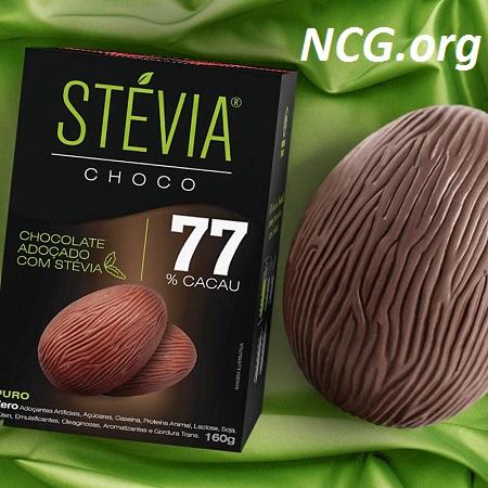 Ovo de páscoa 77% cacau sem gluten e sem açúcar da Stévia Choco - Lista de ovo de páscoa sem gluten - NaoContemGluten.ORG