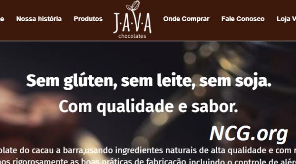 Java Chocolates sem gluten, sem leite e livre de contaminação cruzada