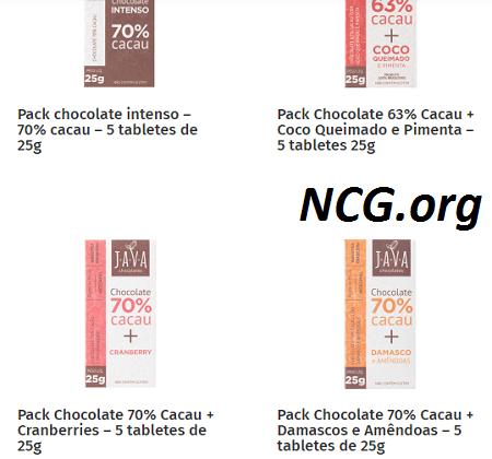 Chocolates tablete sem gluten - Java Chocolates sem gluten, sem leite e livre de contaminação cruzada - Não Contém Gluten