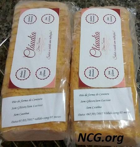 Pão de forma de cenoura sem gluten - Rotisserie sem gluten em São Paulo (SP) Cláudia Finos Sabores - NaoContemGluten.ORG