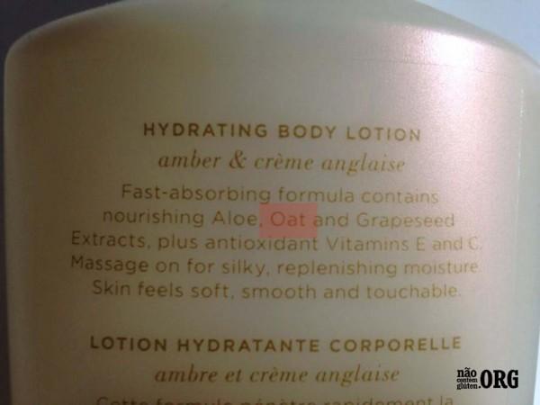 Hidratante Corporal Victoria Secrets embalagem antiga - CONTÉM GLÚTEN - verso 1