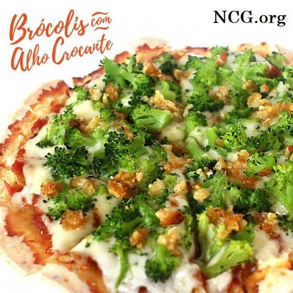 Pizza de brócolis com alho crocante sem gluten - Pizzaria sem gluten e sem lactose em Brasília (DF) Pinoli - Não Contém Gluten