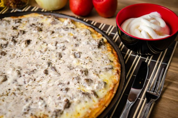 Ballon Rouge Pizzaria, pizzaria sem glúten Pizza mignon com cream cheese sem glúten