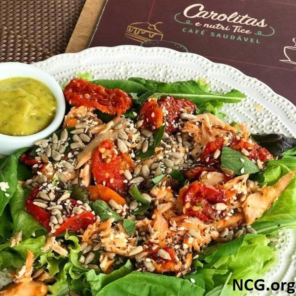Salada sem gluten - Padaria sem gluten em Brusque (SC) Carolitas e Nutri Tice Café Saudável - Não Contém Gluten