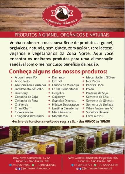 Loja de produto natural sem glúten em Tucuruvi (SP) Armazem FrancescoPanfleto