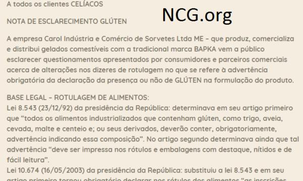 Sorvetes BAPKA disponibiliza informações dos produtos para CELÍACOS. NCG.org