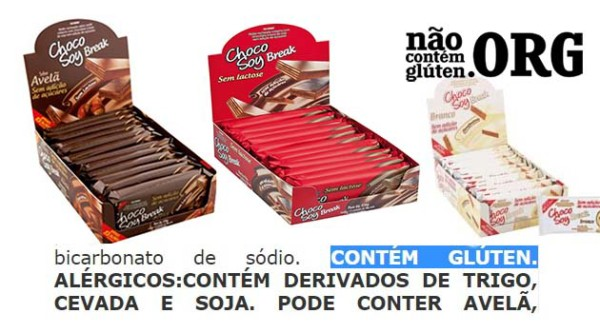 Chocolate Choco Soy tem gluten? Resposta do SAC