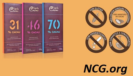 Tabletes de chocolate 31% à 70% cacau sem gluten - Chocolate Espírito Cacau tem gluten ? Explicação do SAC - Não Contém Gluten