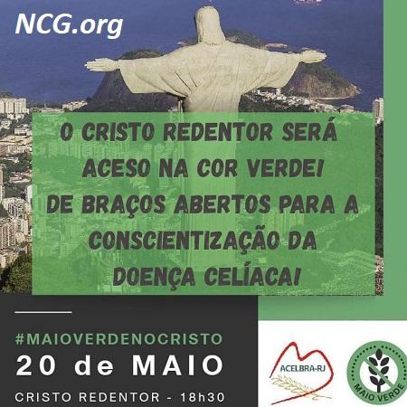O Cristo Redentor será aceso na cor verde !! - ACELBRA-RJ - NaoContemGluten.ORG