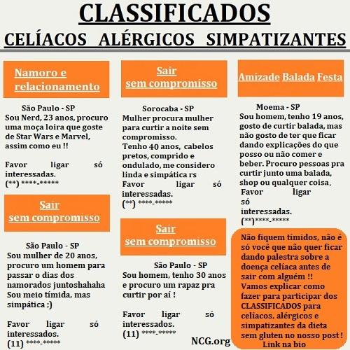 Classificados de relacionamento para celíacos e alérgicos !!