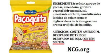 Bala paçoquita Santa Helena contém gluten