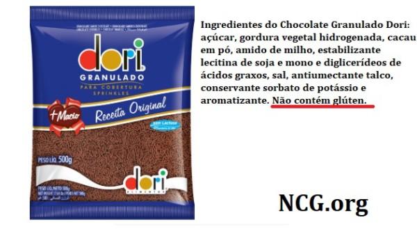 Granulado Dori contém gluten? Resposta do SAC