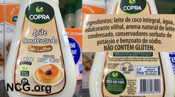 Leite condensado de coco sem gluten da Copra Alimentos