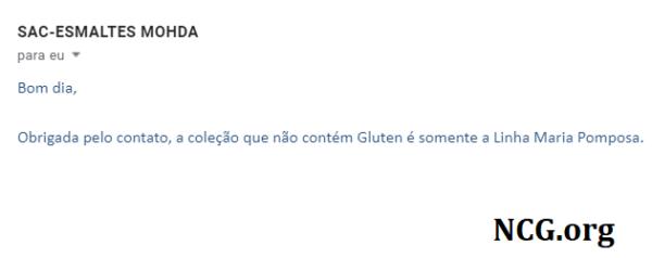 Esmalte Mohda Maria Pomposa contém gluten? Resposta do SAC