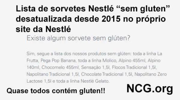"Lista de sorvetes Nestlé ""sem gluten"" desatualizada desde 2015"