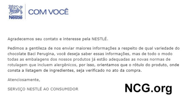 Sorvete Nestle tem gluten ? Resposta do SAC