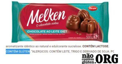 Chocolate Melken contém gluten ? Resposta do SAC