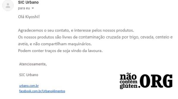 Macarrão de Arroz Urbano tem gluten ? Resposta do SAC