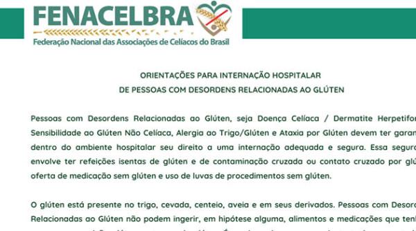Orientação para internação hospitalar de pessoas com desordens relacionadas ao gluten